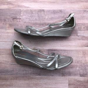 Prada Silver Metallic Leather Strappy Wedge Sandal